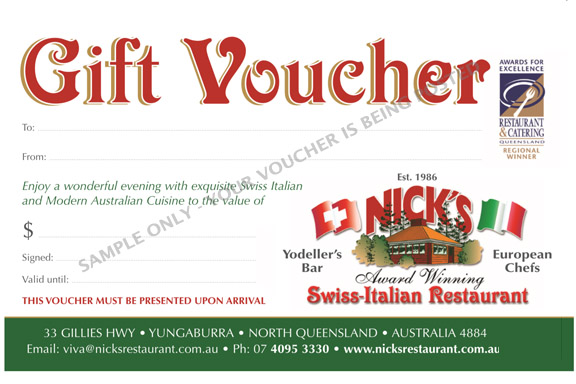 nicks restaurant yungaburra gift vouchers